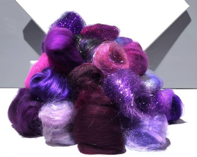 Featured listing image: Purple Fiber kit, Purple Sampler, roving, wool, firestar glitz Needle, Wet Felting wool, Spinning, mini batt, lavender, violet, eggplant 1oz