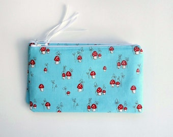 Zipper Pouch, Coin Purse, Pencil Case, you choose the size, with Little Mushrooms on Teal, Woodland, Fairy Tale, gift for her, for summer