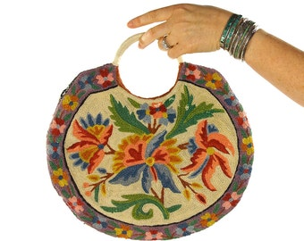 70s Crewel Embroidered Clutch / Vintage 1970s Floral Tapestry Purse / Hippie Boho Ethnic Folk Bohemian / Antique Inspired Round Handbag