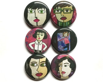 Women Magnets or Pinback Buttons - 1 inch fridge magnet or pin back set, faces, sassy women, artsy chic, art lover gift