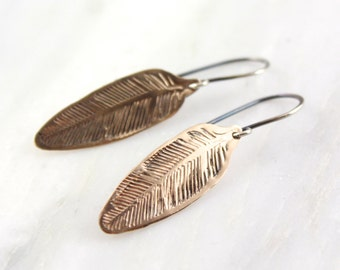 Stamped Bronze Feather Earrings
