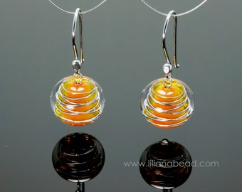 WiredUp Smooth in Yellow Orange Art Glass Silver Earrings