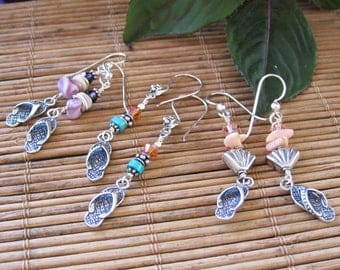 flip flop earrings sterling silver summer beach earrings lisa new design