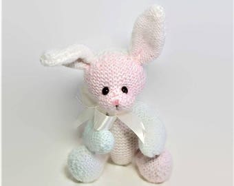Knitted Bunny Rabbit, Jointed Bunny Rabbit, Collectible Bunny Rabbit, White Pink & Mint Green Hand Knitted Bunny Rabbit