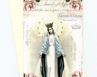 Female Saint Flat Cards , Vintage Style , Note Cards , Blank Cards , Cards with Crown , Saint and Roses , Cottage Style Cards