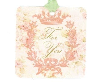 For You Gift Tags , Pink and Green Tags , Crown Tags , Wreath and Crown , All Occasion Tags , Bluebird Lane Tags , Delicate Tags , Cottage
