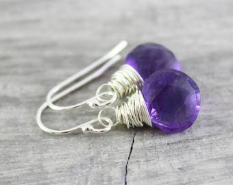 Amethyst Birthstone Earrings, Dark Purple Earrings, Silver Amethyst Earrings, Amethyst Gemstone Earrings, Purple Dangle Earrings