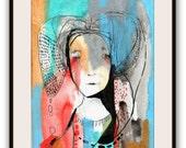 """Original Painting, Illustration Portrait Painting, Original Abstract Portrait  Painting, Collage Art  """"We Live"""""""