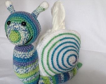 Tissue Dispenser   Crocheted Snail