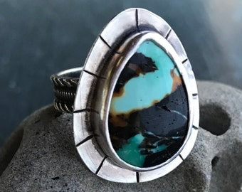 Tibetan Turquoise Power Ring, silver and turquoise, hand stamped, sz 9