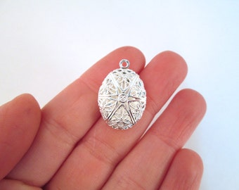 16x24mm oval filigree diffuser lockets, silver plated, pick your amount, D5