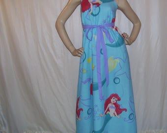 Ariel Mermaid Sundress OOAK Upcycled Maxi Long Geek Princess Sundress Disney Cruise Resort Maternity Mom Party Dress Adult S M L XL