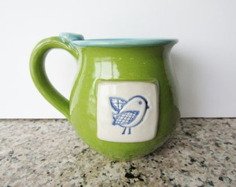 Chartreuse Green Coffee Mug - Cup with bird on it - Handmade Pottery - Ready to Ship