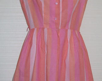 "Sears Fashions Pink Peach Stripe Day Dress 60-70s Vintage Button Fitted Top Full Skirt Small 36"" Bust"