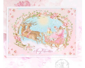 Christmas card, Santa and sleigh pulled by reindeer, vintage style, Merry Christmas, blank holiday card