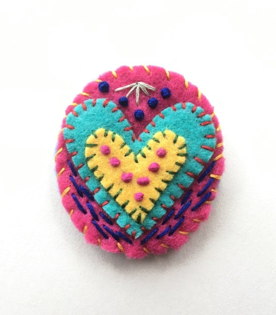 Heart pin valentine s day gift embroidered brooch felt