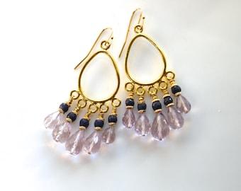 Pink Amethyst, Blue Sapphire Chandelier Earrings in 22kg Vermeil...