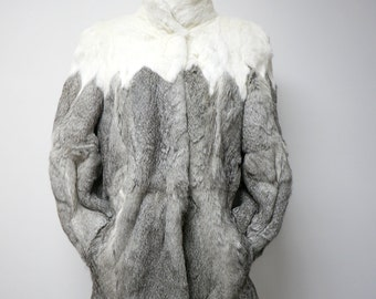 Black and gray rabbit fur jacket . medium . LIKE NEW