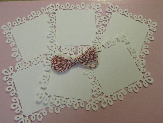 White Swirl Loop Square Paper Doily Tags