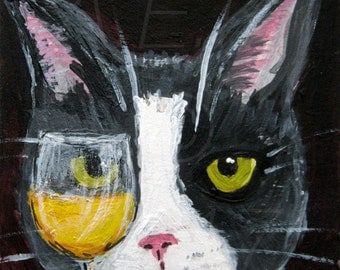 Silent Mylo Tuxedo Cat with White Wine Art Print - Funny Cat Art - Mylo is a Wino - Tuxedo Cat with Wine Art - Cat Gift Idea