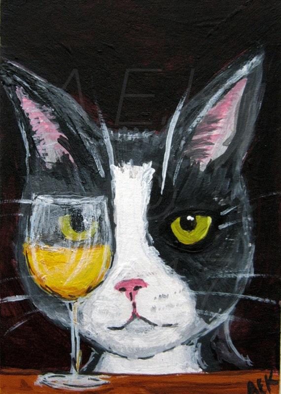 Silent Mylo Tuxedo Cat with White Wine Art Print - Funny Cat Art - Mylo is a Wino - Tuxedo Cat with Wine Art - Cat Gift Idea