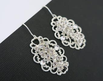 Wedding Earrings Vintage Bridal Crystal Earrings Rhinestone Bridal Earrings Statement Wedding Jewelry for Brides Sterling Bridesmaid Set