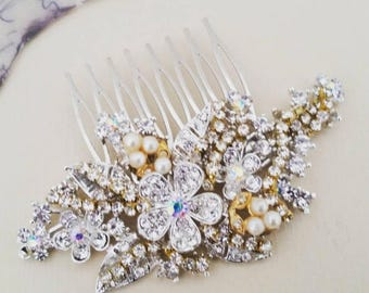 Vintage Style Bridal Hair Comb Crystal Hair Piece Rhinestone Hair Comb Gold and Silver Hair Piece Wedding Hair Accessories Headpiece Sukran