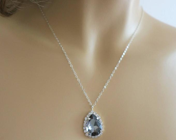 Bridesmaid Necklace Crystal Necklace Pendant Teardrop Necklace Gray Wedding Jewelry Grey Bridesmaids Black Diamond Drop Sterling Silver Rose