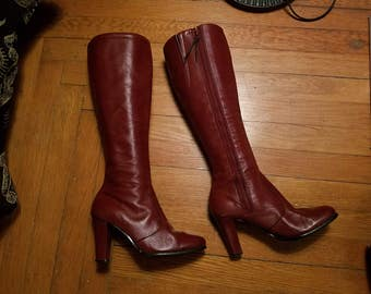 Vintage Burgundy Red Leather Go Go Boots, Knee High, Size 6 B