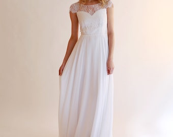 Sample SALE  white fine silk chiffon and lace Wedding Gown