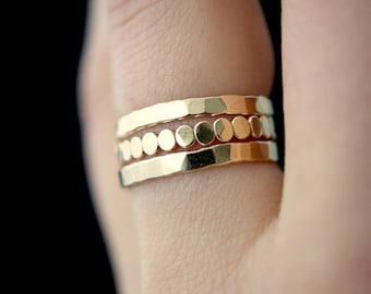 NEW Gold Bead Extra Thick stacking ring set, gold stack ring, gold ring set, gold fill ring set, gold ring, bead ring, bark ring, set of 3