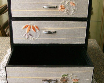 Vintage Japan Tansu Hikidashi Box Silk Embroidered Drawers Jewelry Treasure Chest