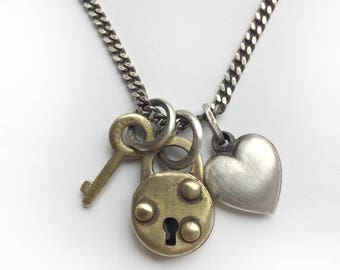 Tiny Vintage Working Padlock Skeleton Key Antique Sterling Silver Puffy Heart Charm Necklace 18 Inch Curb Chain