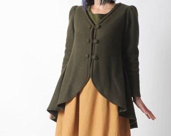 Khaki green jacket, Green wool blend swallowtail jacket, Khaki green womens steampunk jacket, Womens clothing, MALAM