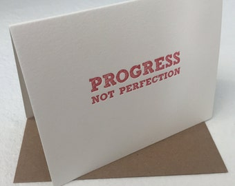 Progress not Perfection Recovery Sober AA Anniversary Card
