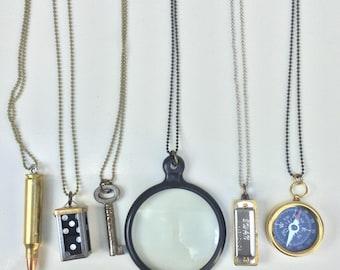Vintage Necklace lot- 6 pc Destash! bullet, dice, antique key, compass, harmonica Men haute jewelry high fashion mix black bronze silver zz