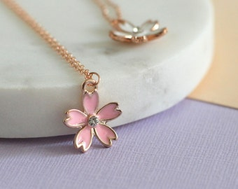 Blossom Rose Gold Enamel Necklace - Rose Gold Fill | Handmade necklace | rose gold necklace | rose gold pendant | flower girl gift