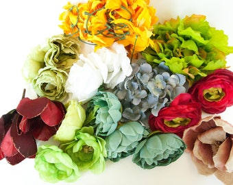 GRAB BAG #8 - Over 40 Mini to Extra Large Size Flowers in Mixed Colors - Silk Artificial Flowers