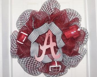 REDUCED Alabama wreath sports wreath deco mesh wreath bama wreath houndstooth wreath