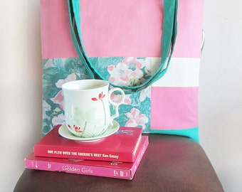 ON SALE Chasing Light // Bubblegum pink, Turquoise, Floral and Cream Tote Bag