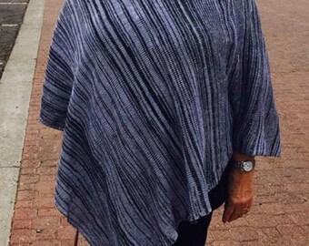 Handmade Knit Poncho - Black and White Random Stripes