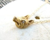 HOLD, Antique Fox - Wolf Pendant with Diamond Eyes, Wonderfully Detailed Wolf or Fox Necklace, Old Cut Diamonds, on 14K Gold Chain