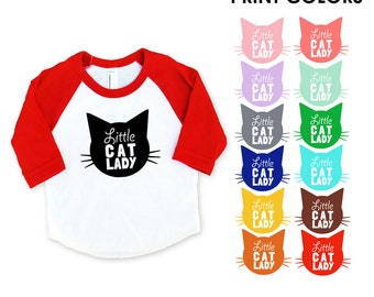 Little Cat Lady Red Raglan Sleeve Baseball TShirt - Infant Baby / Toddler Kids Sizes - Cat Lover, Cat People