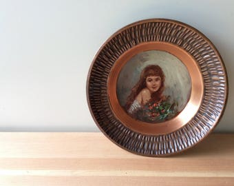 Copper Plate with Hand Painted Portrait of a Girl with Flowers. Vintage Decorative Wall Plate. Copper Decor.