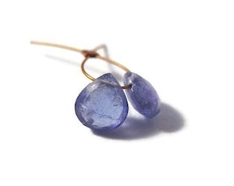 Two Tanzanite Beads, Natural Gemstones, 2 Tanzanite Gemstone Briolettes, Top Drilled Stones, 5x5mm - 6x6mm (Luxe-Ta1b)