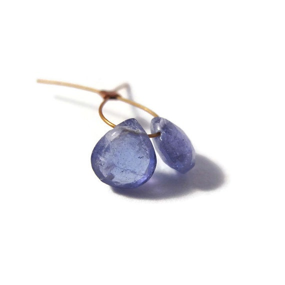 Two Tanzanite Beads, Natural Gemstones, 2 Tanzanite Gemstone Briolettes, Top Drilled Stones, 5x5mm - 6x6mm (Luxe-Ta1b)