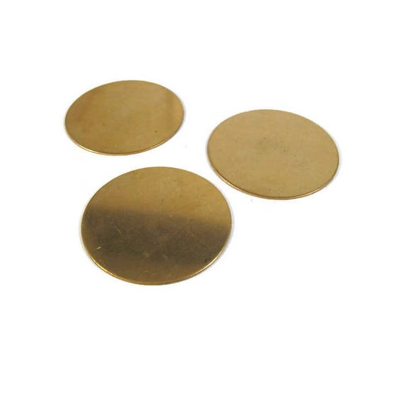 Three Gold Stamping Disc Charm, Brass, Round 45mm Blank Discs, Flat Shiny Charms for Making Jewelry, Jewelry Supplies