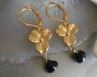 black Spinel Briolette earrings-Triple gold Flower Earrings-black tear drop earrings-wedding Gold black gemstone earrings-Bride