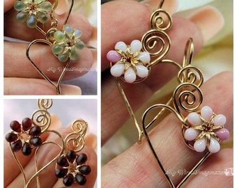 Charming Hearts Earrings in 14k GF, Handmade Heart Earrings, Your Choice Tiny Pink, Dark Red, or Pale Green AB Flowers, Hearts and Flowers