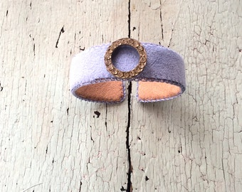 Pale Lavender Adjustable Cuff with Rhinestone Circle